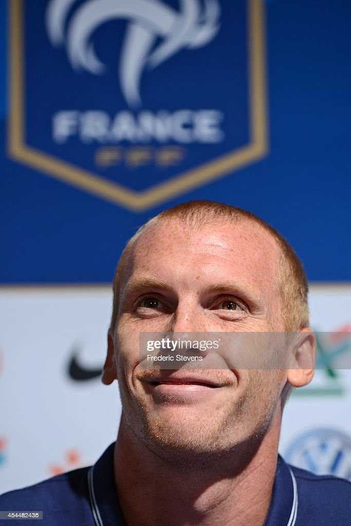 France's defender <a gi-track='captionPersonalityLinkClicked' href=/galleries/search?phrase=Jeremy+Mathieu&family=editorial&specificpeople=784387 ng-click='$event.stopPropagation()'>Jeremy Mathieu</a> during a press conference at center training of the French national football team, on September 1, 2014, Clairefontaine en Yvelines, France. The first day of their training ahead before the friendly football match against Spain team.