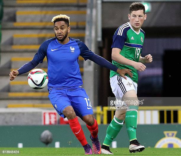 France's defender Jordan Amavi vies with Northern Ireland's forward Conor McDermott during the Under21 2017 European Championship qualifier football...
