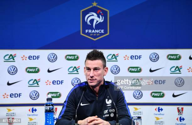 France's defender Laurent Koscielny gives a press conference in ClairefontaineenYvelines near Paris on November 7 2017 as part of the France national...
