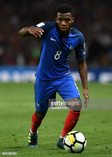 France's defender Layvin Kurzawa controls the ball during the FIFA World Cup 2018 qualifying football match between France and Luxembourg on...