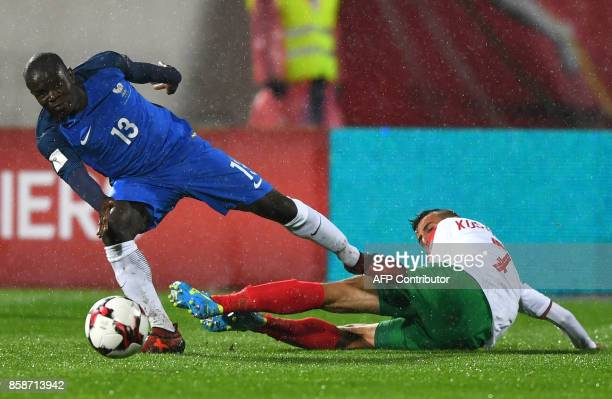 France's defender N'golo Kante fights for the ball with Bulgaria's midfielder Georgi Kostadinov during the FIFA World Cup 2018 qualifying football...