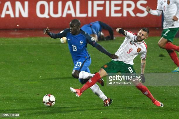 France's defender N'golo Kante fights for the ball with Bulgaria's midfielder Spas Delev during the FIFA World Cup 2018 qualifying football match...