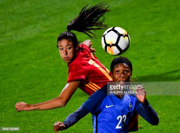 TOPSHOT France's defender Sakina Karchaoui vies with Spain's midefielder Silvia Meseguer during a friendly football match between France and Spain on...