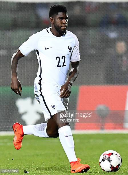 France's defender Samuel Umtiti controls the ball during the FIFA World Cup 2018 qualifying football match Luxembourg vs France on March 25 2017 at...