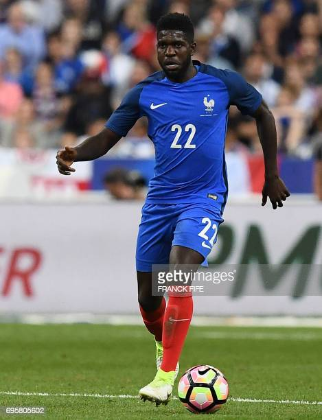 France's defender Samuel Umtiti controls the ball during the friendly football match France vs England on June 13 2017 at the Stade de France stadium...