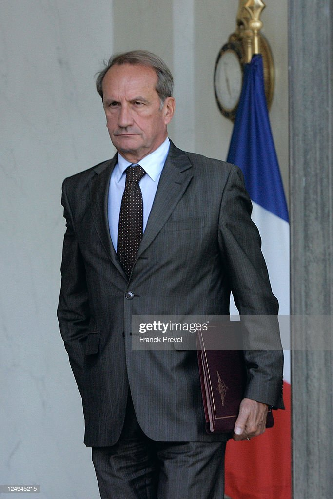 France's Defense Minister <a gi-track='captionPersonalityLinkClicked' href=/galleries/search?phrase=Gerard+Longuet&family=editorial&specificpeople=2528102 ng-click='$event.stopPropagation()'>Gerard Longuet</a> leaves the weekly cabinet meeting at Elysee Palace on September 14, 2011 in Paris, France. French President Nicolas Sarkozy announced today that he is committed to aiding Greece in its worsening economic crisis.