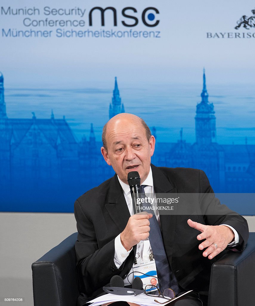 France's Defense Minister Jean-Yves Le Drian speeks during a panel discussion at the 52nd Munich Security Conference (MSC) in Munich, southern Germany, on February 12, 2016. / AFP / THOMAS KIENZLE