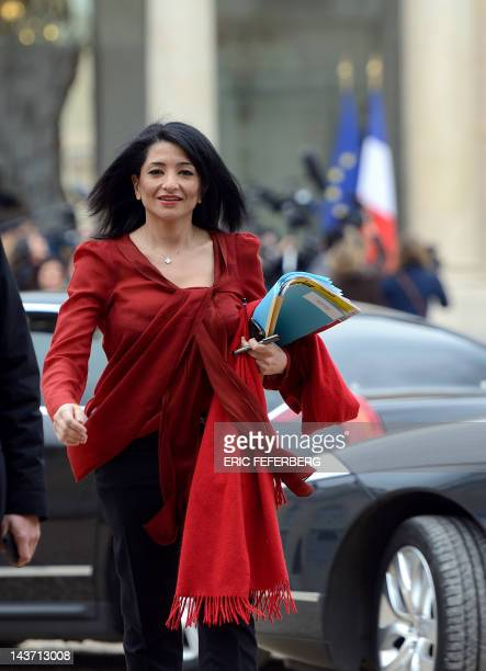 France's deputy Minister for Youth and Associations Jeannette Bougrab leaves the Elysee palace after the weekly cabinet meeting on May 03 2012 in...