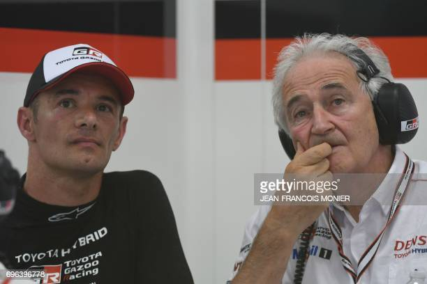 France's driver Stephane Sarrazin attend next to France Hugues de Chaunac President of ORECA technical partner Toyota Swiss' driver Neel Jani reats...