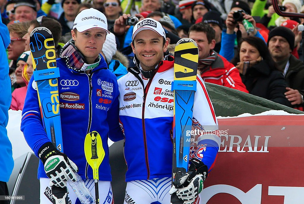 France's duo Alexis Pinturault (L) and Thomas Blondin Mermillod (R) pose after winning second and third position at the FIS World Cup men's super combined on January 27, 2013 in Kitzbuehel, Austrian Alps. Croatia's Ivica Kostelic won the combined title ahead of French duo Alexis Pinturault and Thomas Mermillod Blondin .