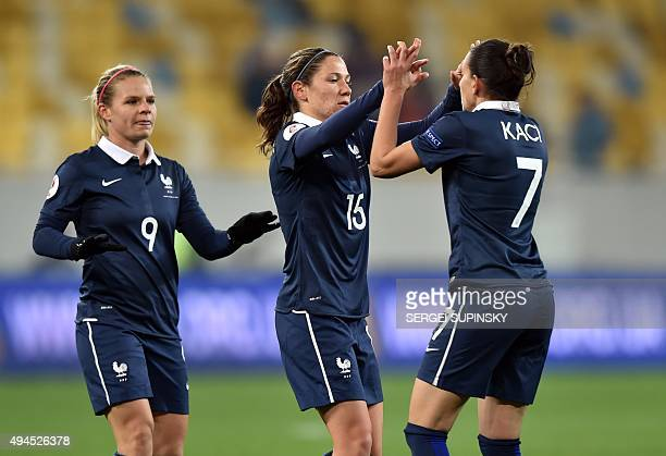 France's Elise Bussaglia celebrates with her teammates after scoring during the Women's EURO 2017 Group 3 qualifying football match Ukraine vs France...