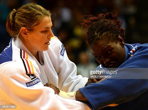 France's Emilie Andeol bouts for third place with Germany's Franziska Konitz during the 78 kg category competition at the World Judo Championships on...