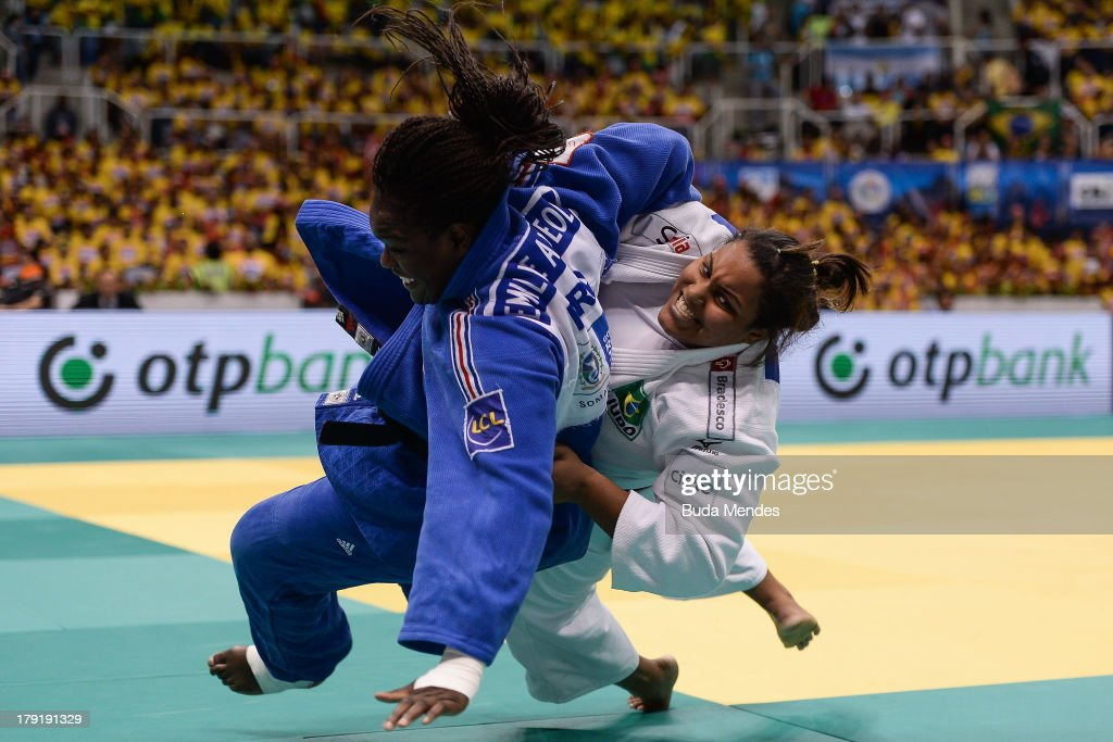 France's Emilie Andeol (blue) competes with Brazil's Maria Suelen Altheman for the +78kg category Semi-Final, during the IJF World Judo Championship at Gymnasium Maracanazinho on August 31, 2013 in Rio de Janeiro, Brazil.