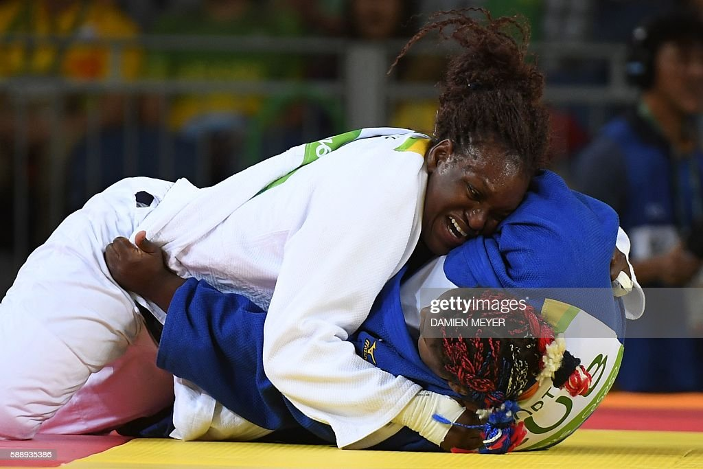 TOPSHOT France's Emilie Andeol competes with Cuba's Idalys Ortiz during their women's 78kg judo contest gold medal match of the Rio 2016 Olympic...