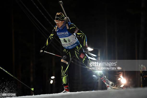 France's Enora Latuilliere competes during the Women 4x6 Relay at the IBU Biathlon World Championship in Kontiolahti Finland on March 13 2015...