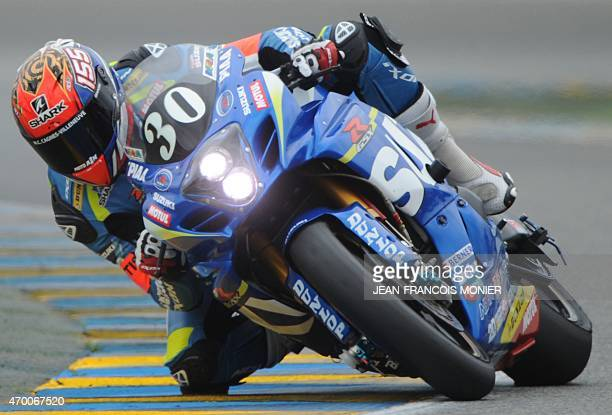 France's Etienne Masson rides his Suzuki GSXR Formula EWC N°30 as he takes part in the second qualifying practice session of the the 38th Le Mans 24...