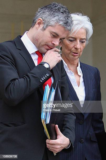 France's European Affairs Minister Laurent Wauquiez and Finance and Economy Minister Christine Lagarde leave the weekly cabinet meeting at Elysee...