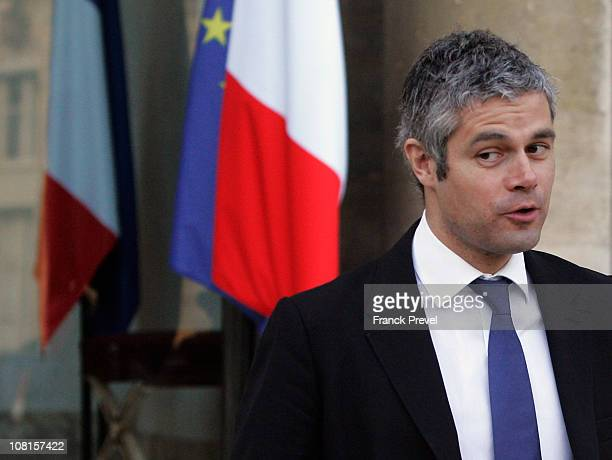 France's European Affairs Minister Laurent Wauquiez leaves the weekly cabinet meeting at Elysee Palace on January 19 2011 in Paris France