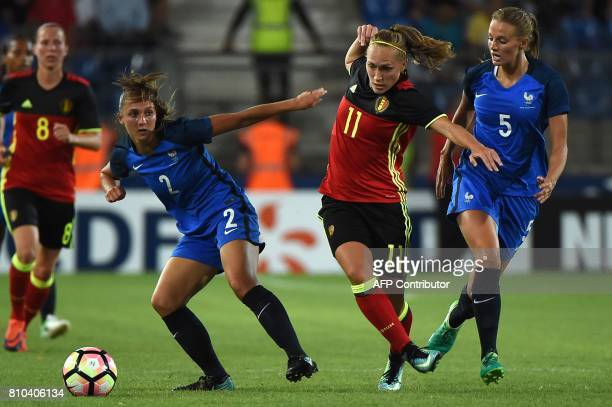 France's Eve Perisset vies with Belgium's Janice Cayman during the friendly match between France and Belgium on July 7 2017 at the Mosson stadium in...