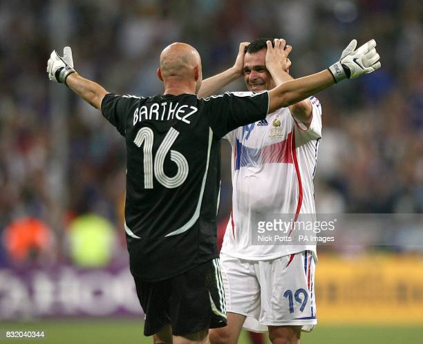 France's Fabien Barthez and Willy Sagnol celebrate after the match