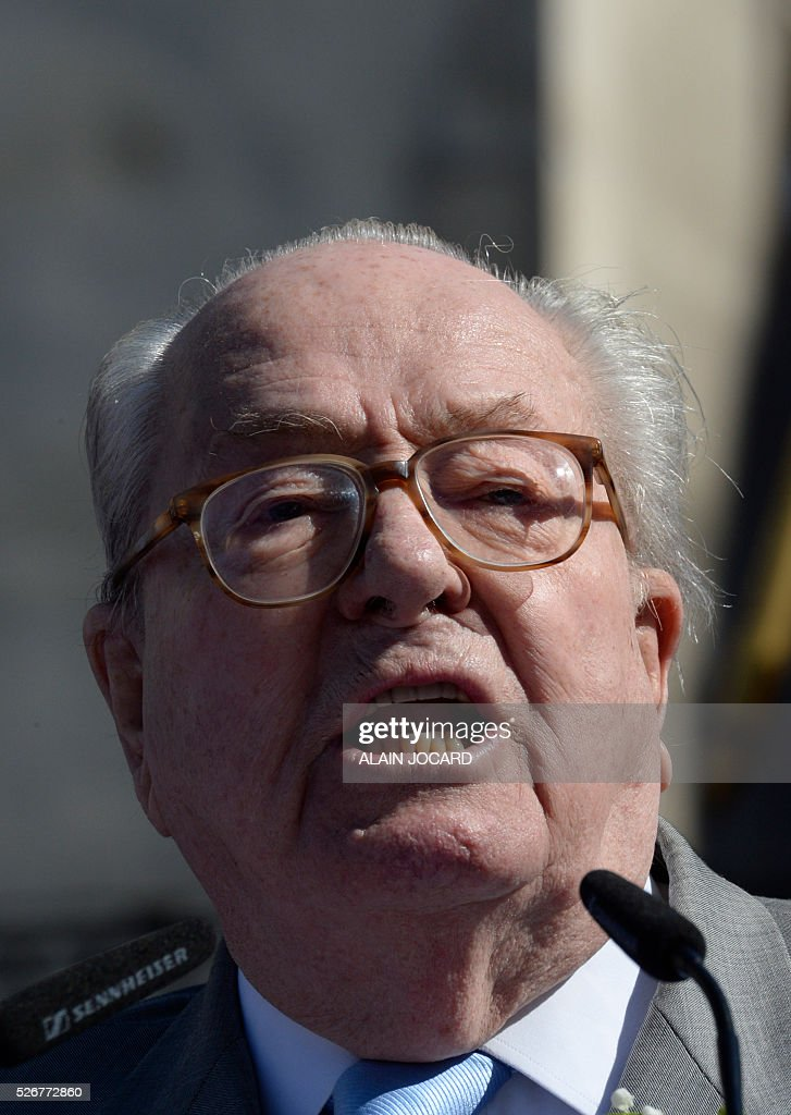 France's far-right Front National (FN) party founder and former leader Jean-Marie Le Pen delivers a speech at the Place des Pyramides in Paris during a rally in honour of Jeanne d'Arc (Joan of Arc) on May 1, 2016. / AFP / ALAIN
