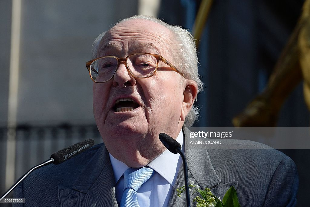 France's far-right Front National (FN) party founder and former leader Jean-Marie Le Pen delivers a speech at the Place des Pyramides in Paris during a rally in honour of Jeanne d'Arc (Joan of Arc) on May 1, 2016.