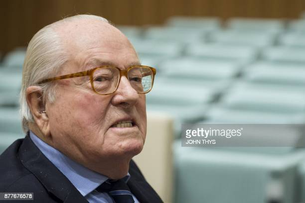 France's farright National Front honorary president JeanMarie Le Pen look on prior to appearing before the Court of Justice of the European Union...