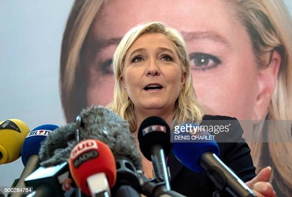 France's farright National Front leader Marine Le Pen holds a press conference in Lille on December 7 a day after the first round of the French...