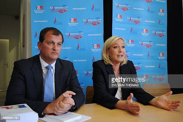 France's farright National Front leader Marine Le Pen speaks during a press conference a before meeting to support Louis Aliot Front National...