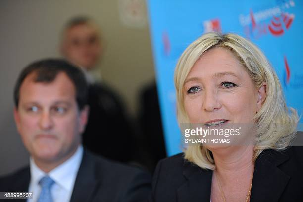 France's farright National Front leader Marine Le Pen speaks during a press conference before a meeting to show support to Louis Aliot Front National...
