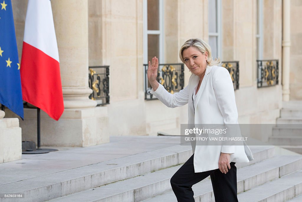 France's Far-right National Front (FN) party leader Marine Le Pen arrives to meet French President as part of a meeting between French President and leaders of political parties and movements on June 25, 2016 at the Elysee presidential Palace in Paris, after Britain voted to leave the European Union a day before. Europe's press was awash with gloom and doom over Brexit on June 25, warning that it was a boon for nationalists while urging EU leaders to meet the challenge of their 'rendezvous with history'. / AFP / GEOFFROY