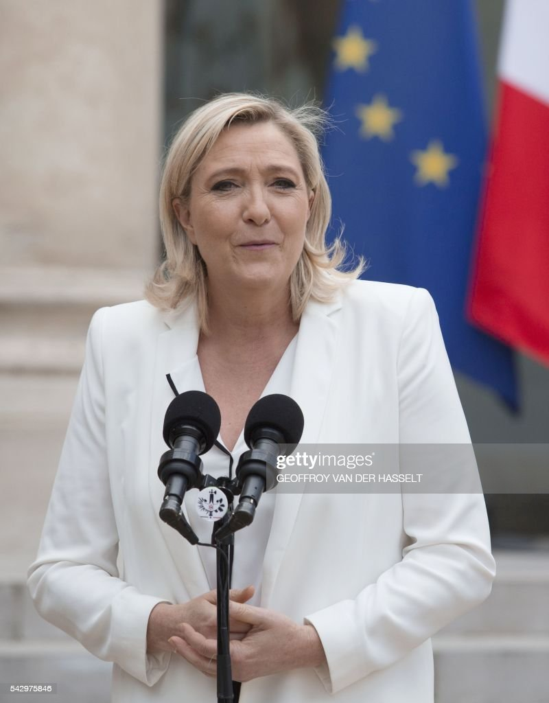 France's Far-right National Front (FN) party leader Marine Le Pen makes a statement after a meeting with French President and leaders of political parties and movements, on June 25, 2016 at the Elysee Palace in Paris, after Britain voted to leave the European Union a day before. Europe's press was awash with gloom and doom over Brexit on June 25, warning that it was a boon for nationalists while urging EU leaders to meet the challenge of their 'rendezvous with history'. / AFP / GEOFFROY