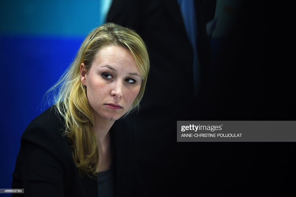 France's far-right National Front (FN) party MP Marion Marechal Le Pen attends a press conference on March 17, 2015 in Le Pontet, southern France, ahead of the March 22 and 29 departemental local elections.
