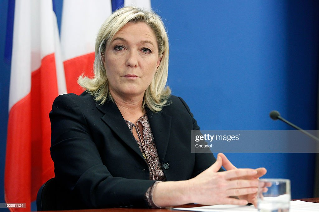 France's farright National Front party president Marine Le Pen holds a press conference on February 17 2015 in Nanterre France The press conference...