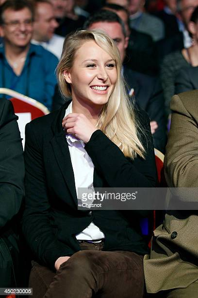France's farright National Front party's French deputy Marion MarechalLe Pen FN's candidate for the municipal elections in Hyeres attends a party...