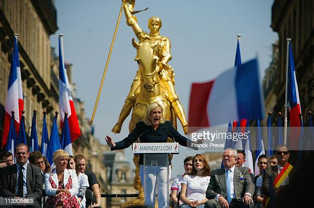 France's farright National Front President Marine Le Pen delivers a speech during the party's annual celebration of Joan of Arc on May 1 2011 in...
