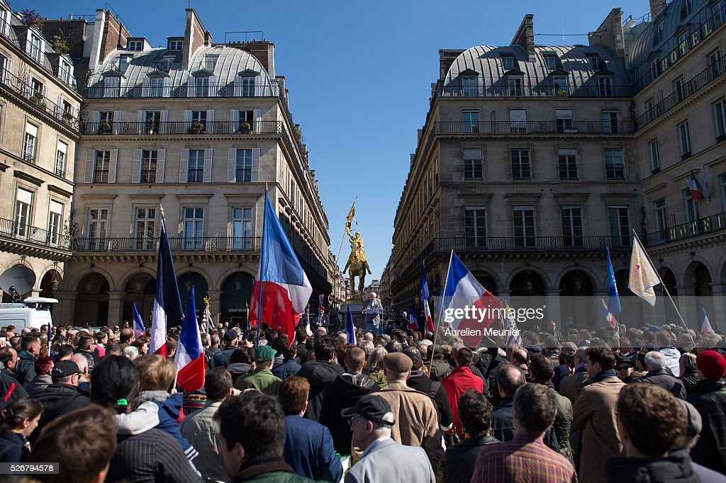 France's far-right Political Party Front National (FN) founder and honorary President, <a gi-track='captionPersonalityLinkClicked' href=/galleries/search?phrase=Jean-Marie+Le+Pen&family=editorial&specificpeople=214017 ng-click='$event.stopPropagation()'>Jean-Marie Le Pen</a> addresses the crowd on stage during the party's annual rally honoring Joan of Arc on May 1, 2016 in Paris, France. Annually over 1000 people from the FN Party demonstrate on May 1st.