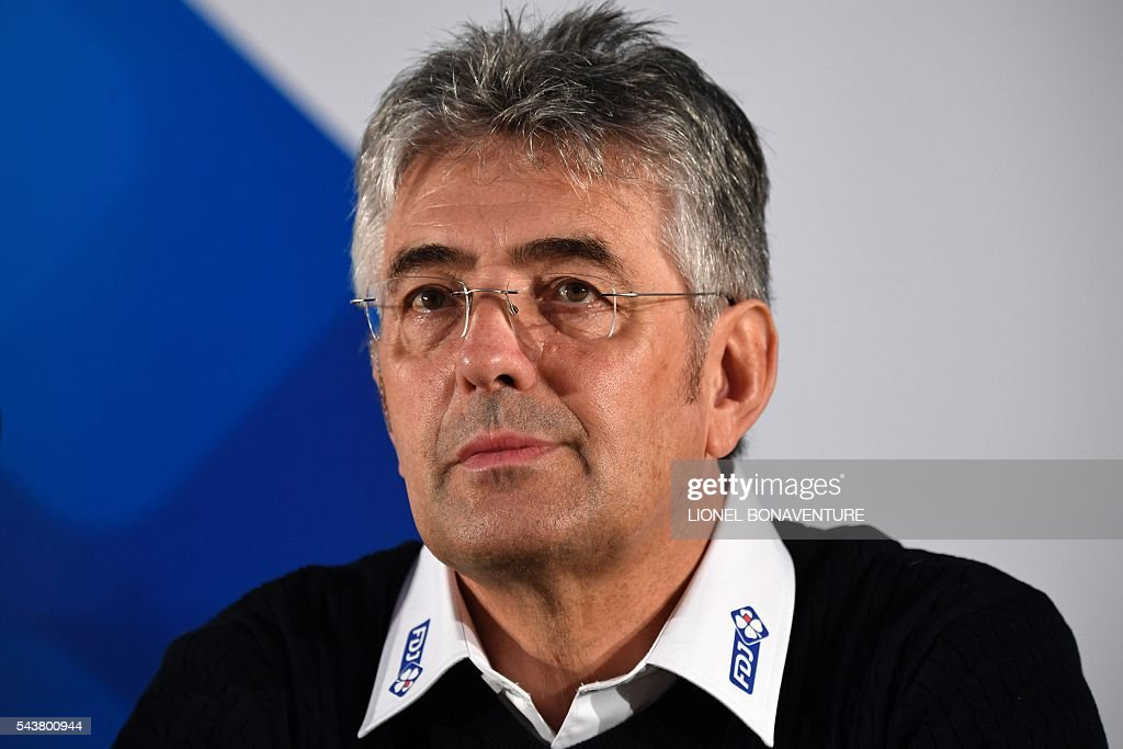 France's FDJ cycling team manager Marc Madiot gives a press conference at the press center in Saint-Lo, Normandy, on July 30, 2016, two days before the start of the 103rd edition of the Tour de France cycling race. The 2016 Tour de France will start on July 2 in the streets of Le Mont-Saint-Michel and ends on July 24, 2016 down the Champs-Elysees in Paris. / AFP / LIONEL