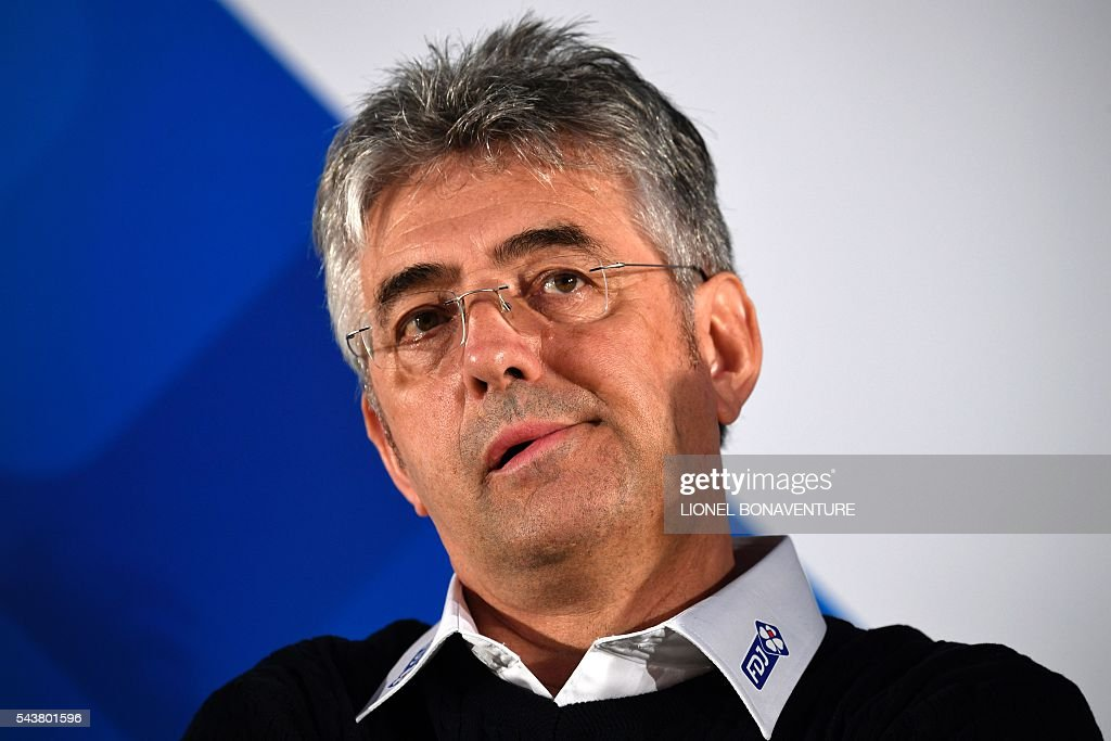 France's FDJ cycling team manager Marc Madiot reacts as he gives a press conference at the press center in Saint-Lo, Normandy, on July 30, 2016, two days before the start of the 103rd edition of the Tour de France cycling race. The 2016 Tour de France will start on July 2 in the streets of Le Mont-Saint-Michel and ends on July 24, 2016 down the Champs-Elysees in Paris. / AFP / LIONEL