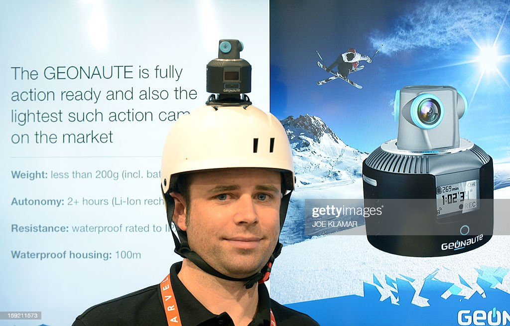 France's Filippe Gardiner of Geonaute introduces 360 degrees camera for action sports at the 2013 International CES at the Las Vegas Convention Center on January 9, 2013 in Las Vegas, Nevada. CES, the world's largest annual consumer technology trade show, runs from January 8-11 and is expected to feature 3,100 exhibitors showing off their latest products and services to about 150,000 attendees.