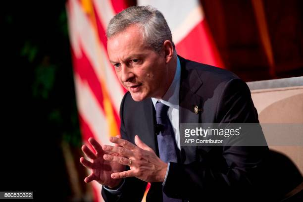 France's Finance Minister Bruno Le Maire speaks at the US Chamber of Commerce October 12 2017 in Washington DC / AFP PHOTO / Brendan Smialowski