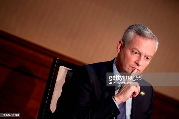 France's Finance Minister Bruno Le Maire waits to speak at the US Chamber of Commerce October 12 2017 in Washington DC / AFP PHOTO / Brendan...