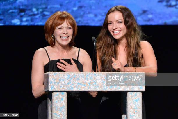 Frances Fisher and Francesca Eastwood speaks onstage at the Environmental Media Association's 27th Annual EMA Awards at Barkar Hangar on September 23...