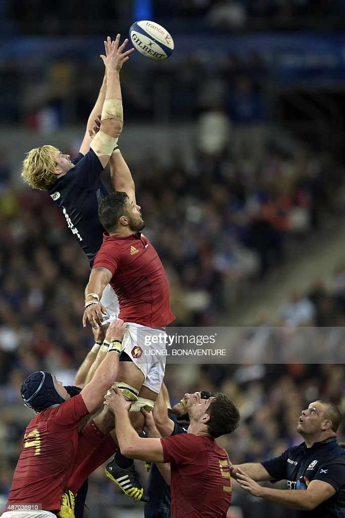 France's flanker Damien Chouly (R) and Scotland's lock <a gi-track='captionPersonalityLinkClicked' href=/galleries/search?phrase=Richie+Gray+-+Rugby+Player&family=editorial&specificpeople=5907993 ng-click='$event.stopPropagation()'>Richie Gray</a> (L) jump for the ball in a line out during the rugby union test match between France and Scotland at the Stade de France in Saint-Denis, north of Paris, on September 5, 2015.