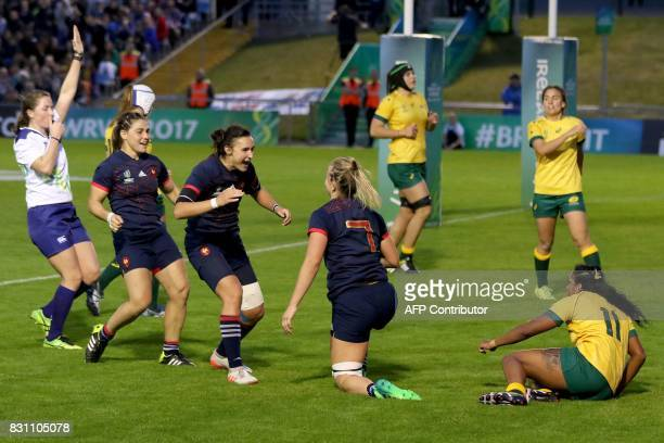 France's flanker Romane Menager celebrates after scoring another try during the Women's Rugby World Cup 2017 pool C rugby match between France and...