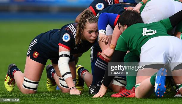 France's flanker Romane Menager prepares to scrummage during the Six Nations international women's rugby union match between Ireland and France at...