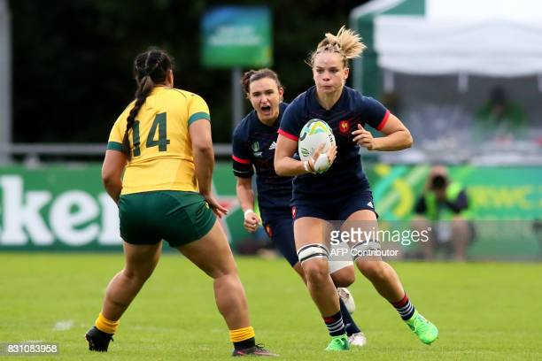 France's flanker Romane Menager takes on Australia's wing Nareta Marsters during the Women's Rugby World Cup 2017 pool C rugby match between France...