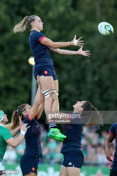 France's flanker Romane Menager wins lineout ball during the Women's Rugby World Cup 2017 pool C rugby match between France and Ireland at The UCD...
