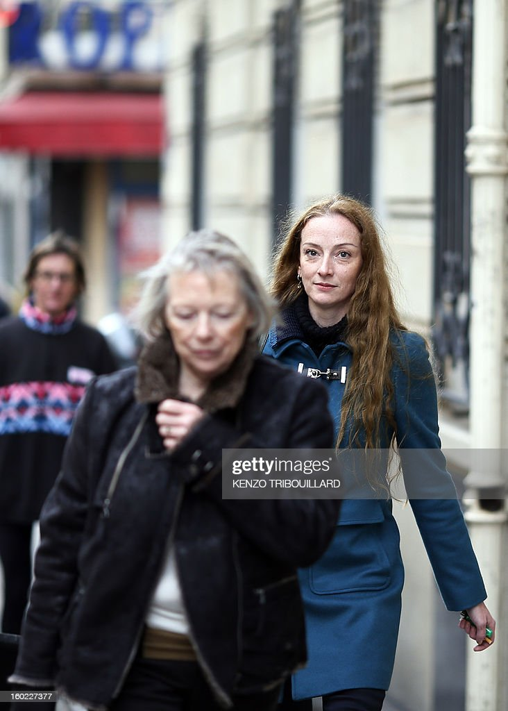 France's Florence Cassez and her mother Charlotte Cassez leave after a lunch with former French president Nicolas Sarkozy on January 28 2013 in Paris...