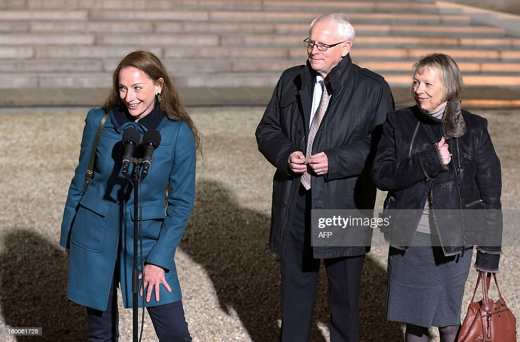 France's Florence Cassez (L) talks to journalists flanked by her parents after a meeting with French president Francois Hollande on January 25, 2013 at the Elysee Palace in Paris. Cassez was freed from a Mexican prison two days before following a Supreme Court ruling that police violated her rights by staging her arrest for kidnapping on national television seven years ago. After facing 60 years in jail, Cassez, 38, took a flight to Paris, hours after three of five justices voted for her immediate release in a case that had strained Franco-Mexican ties. AFP PHOTO THOMAS SAMSON